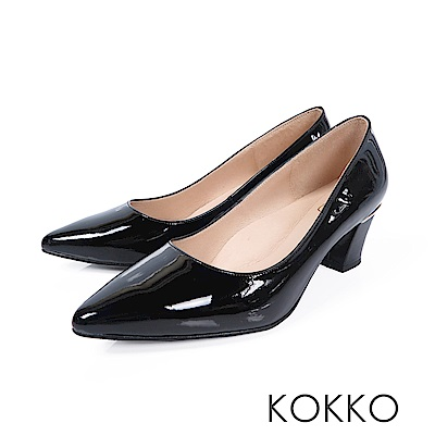 KOKKO - 都會時尚羊皮牛皮粗高跟鞋-漆皮黑
