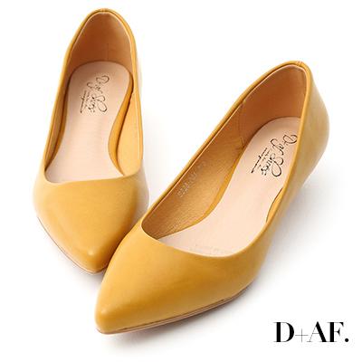 D+AF 微醺色調.素面美型低跟尖頭鞋*黃
