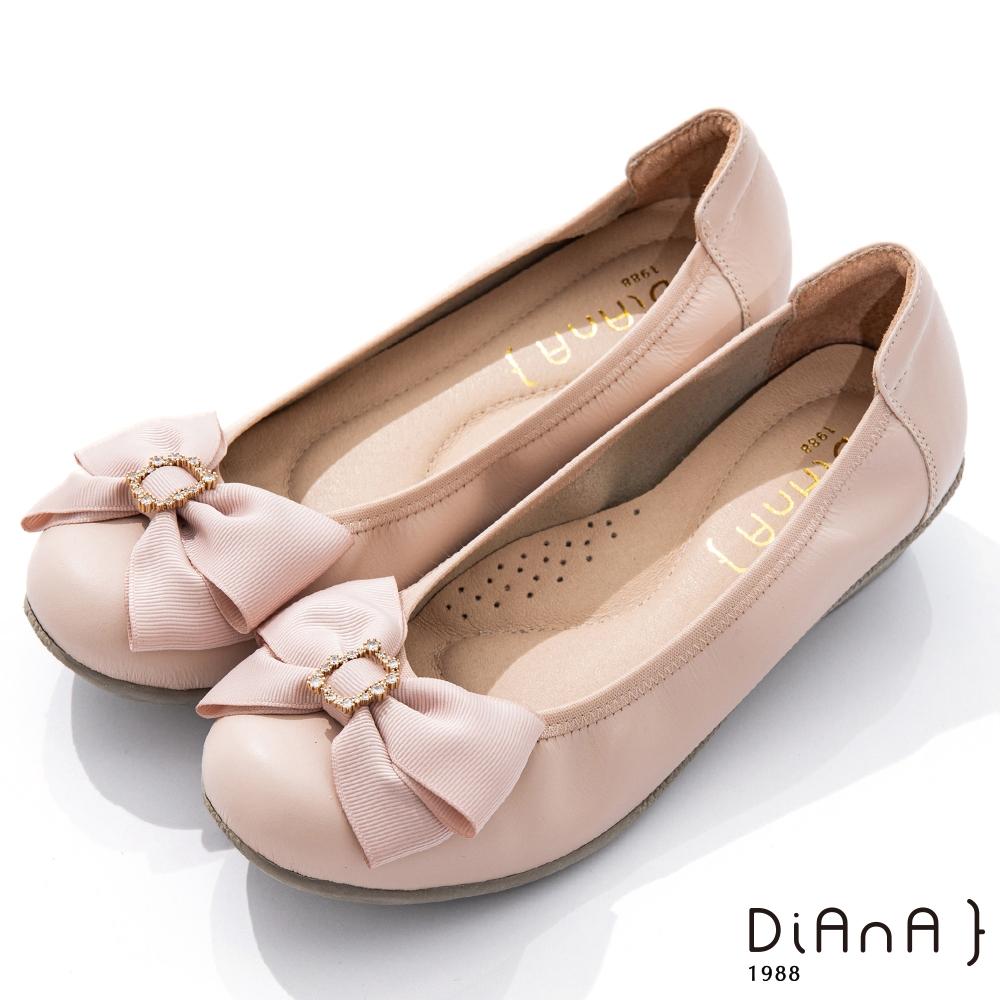 DIANA 3.5cm 質感牛皮金屬水鑽蝴蝶結娃娃鞋-氣質甜美-粉