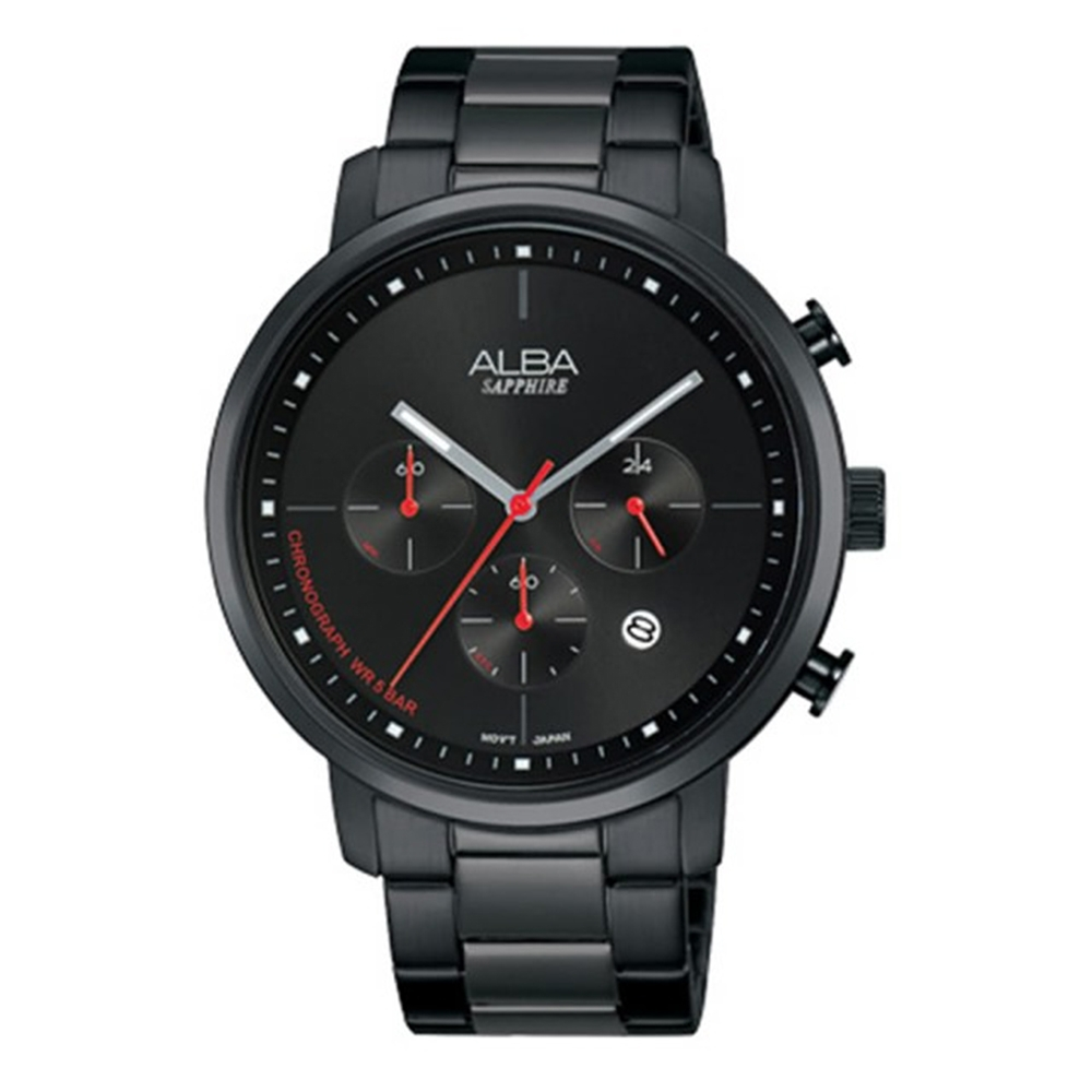ALBA 雅柏 休閒獨特計時三眼腕錶-黑43mm(VD53-X313SD/AT3E01X1)