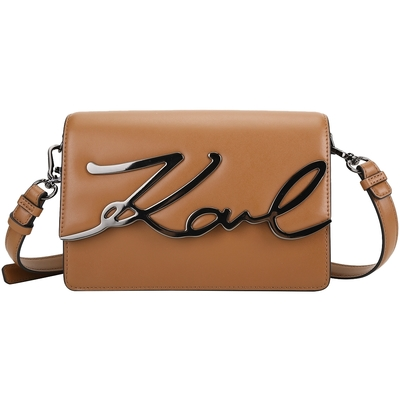 KARL LAGERFELD K/Signature 卡爾 簽名金屬字樣牛皮肩背包(棕色)