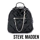 STEVE MADDEN-BJAMMIN 美式青春亮漆面菱格壓紋雙肩後背包-黑色