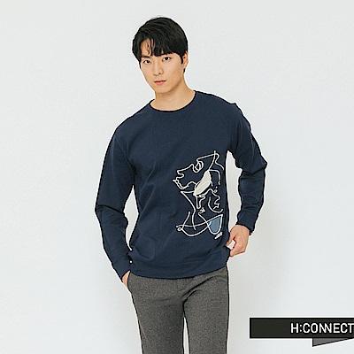 H:CONNECT 韓國品牌 男裝-幾何圖像長袖上衣-藍
