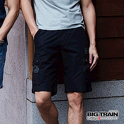 BIG TRAIN 黑色雙層布貼袋短褲-男-黑色
