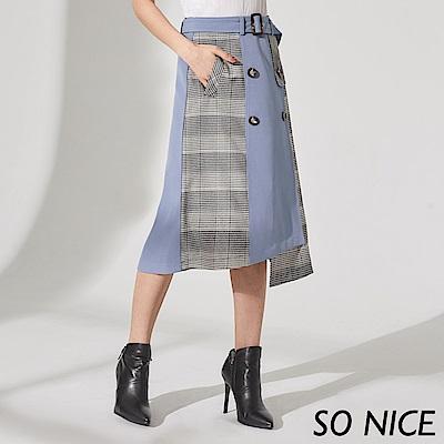 SO NICE氣質威爾士格紋拼接過膝裙