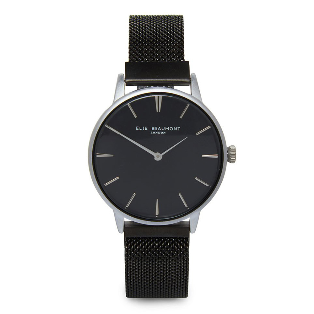 Elie Beaumont 英國手錶 牛津米蘭磁性錶帶系列 黑錶盤錶帶x銀框33mm