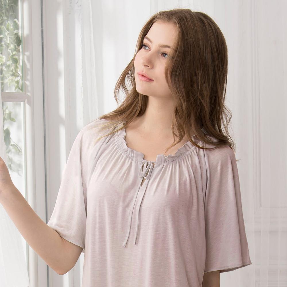 羅絲美睡衣 -保養系列短袖洋裝睡衣(藕紫色)