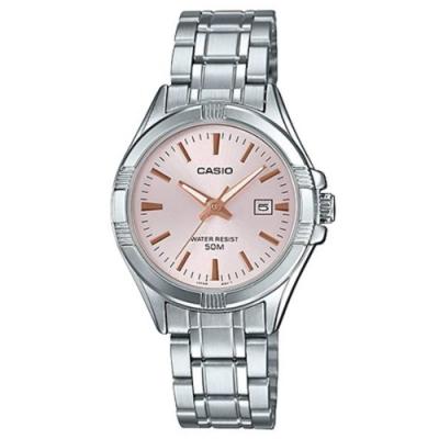 CASIO 白領都會城市不鏽鋼女腕錶-粉紅面(LTP-1308D-4)/26mm