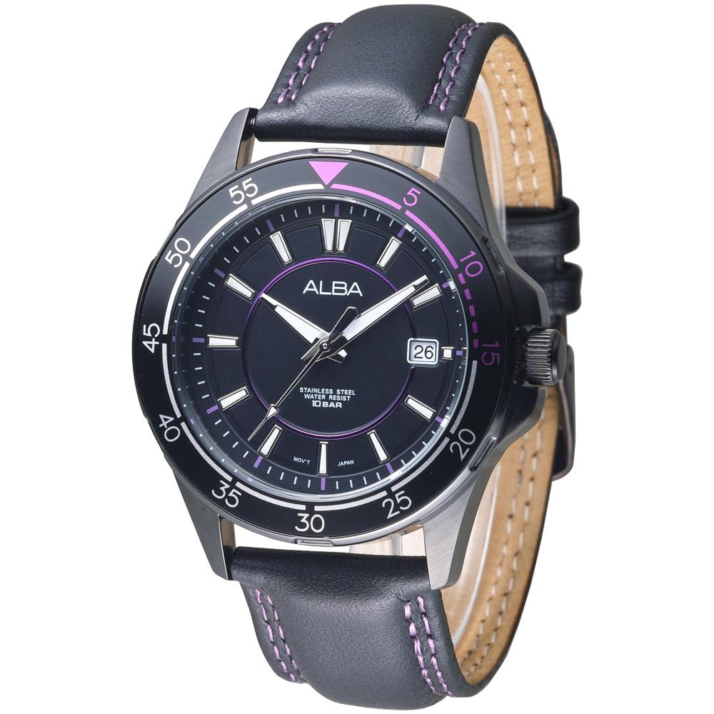 ALBA 男朋友風格設計風女錶-真皮錶帶/黑(AS9261X1)/34mm @ Y!購物