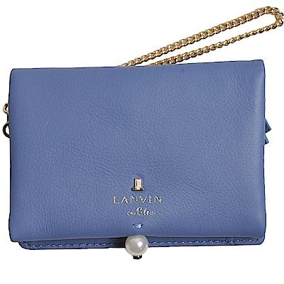 LANVIN en Bleu 品牌字母LOGO珍珠風造型卡片零錢夾(矢車菊藍) @ Y!購物