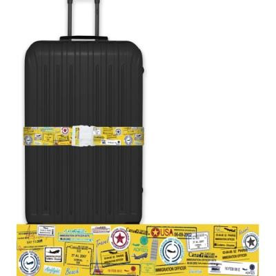 CS0330創意彩繪款旅遊蹤跡行李箱綁帶 行李箱束帶 旅行箱捆綁帶