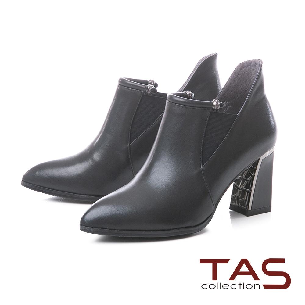 TAS質感素面牛皮拼接鬆緊帶高跟短靴–實搭黑