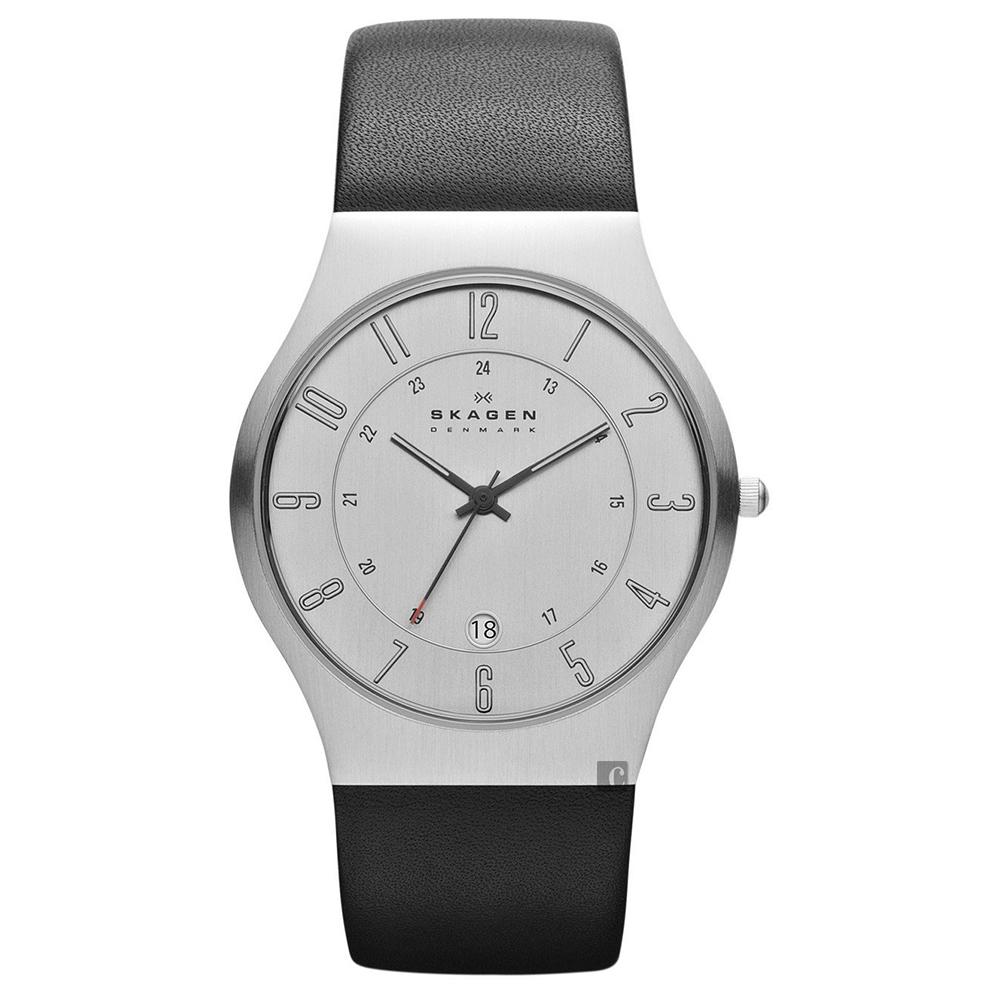 SKAGEN 經典系列 超薄24小時顯示石英男錶(233XXLSLC)-銀x黑/38mm