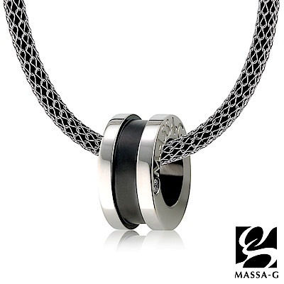 MASSA-G 早春深黑純鈦墬搭配 X1 4mm超合金鍺鈦項鍊