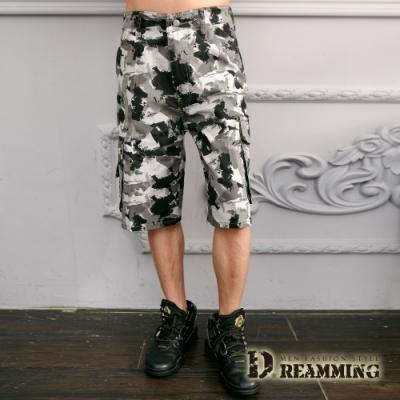 Dreamming 街頭潑畫迷彩休閒側袋工作短褲-灰白