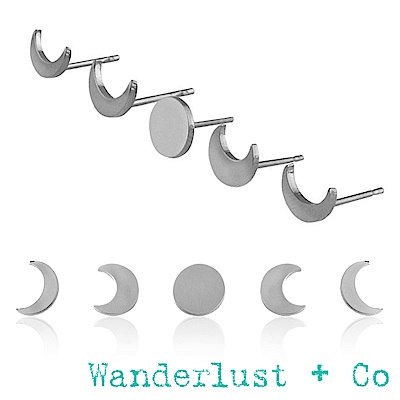 Wanderlust+Co月亮圓缺耳環組 - 銀色