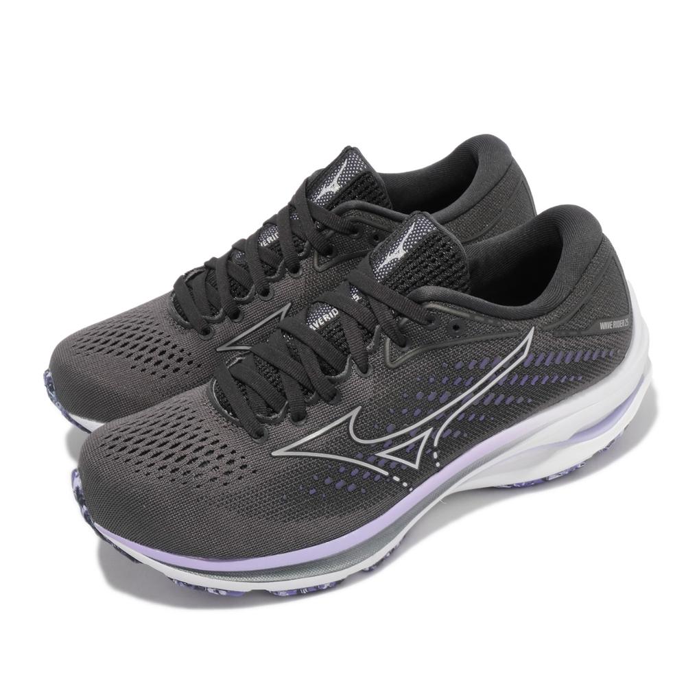 Mizuno 慢跑鞋 Wave Rider 25 寬楦 女鞋 美津濃 路跑 緩震 輕量 透氣 基本款 灰 紫 J1GD210693