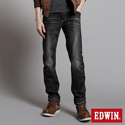 【EDWIN】映像圖騰 B.T W.F窄直筒保溫褲-男款(灰色)
