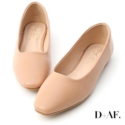 D+AF 溫柔春氛.小方頭素面百搭平底鞋*粉