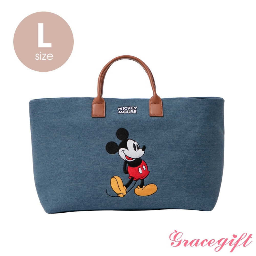 Disney collection by grace gift–唐葳設計迪士尼米奇2WAY帆布包L 牛仔