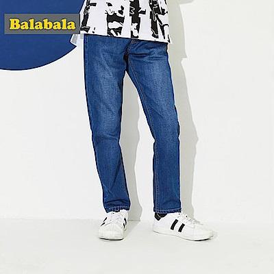 Balabala巴拉巴拉-鬆緊腰頭彈性牛仔褲-男(牛仔色)