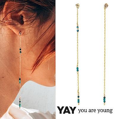 YAY You Are Young 法國品牌 Riviera 土耳其藍孔雀石耳環 金色垂墜