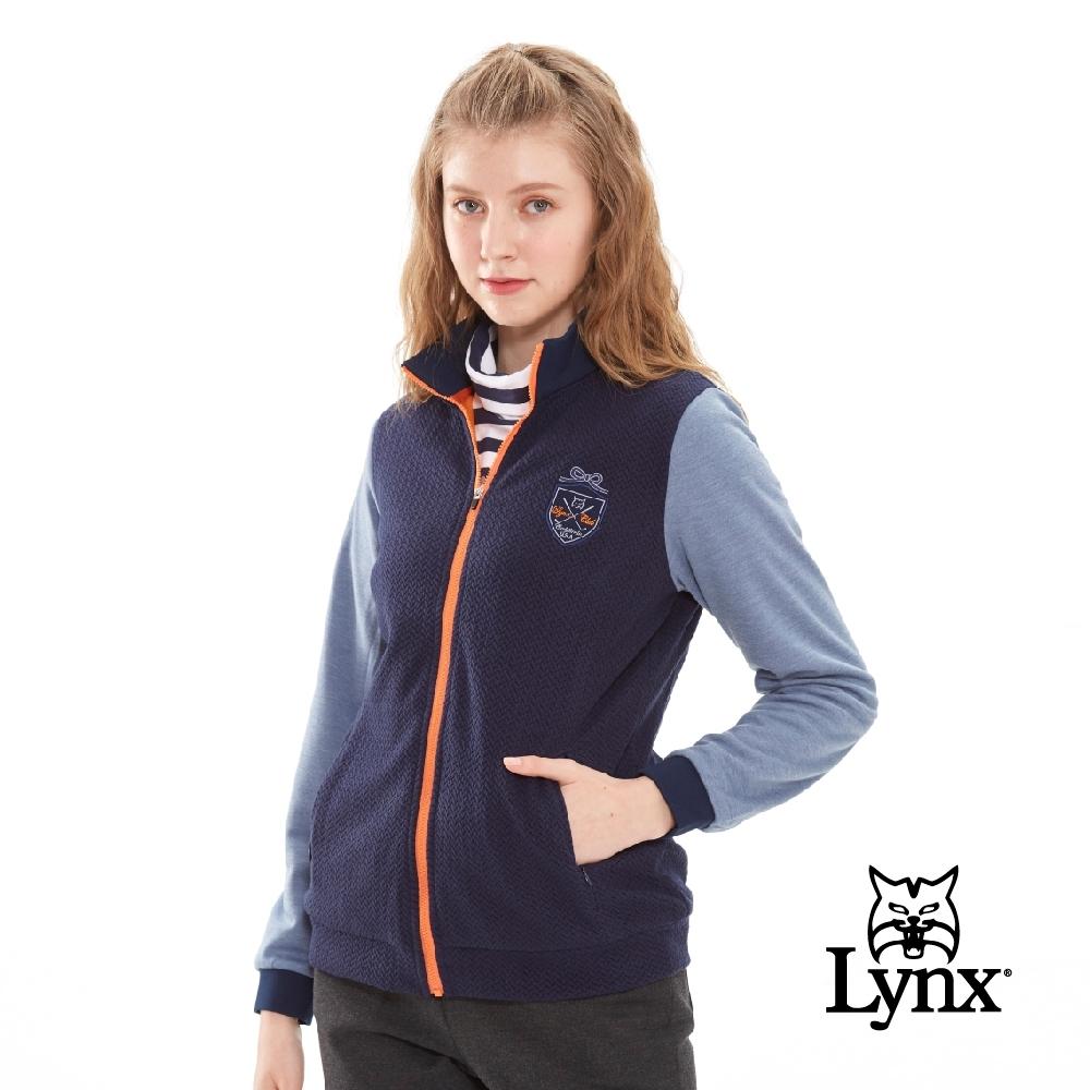 【Lynx Golf】女款日本進口布料緹織配色拉鍊長袖外套-深藍色