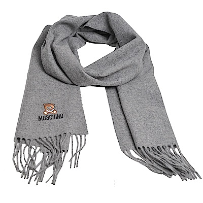 MOSCHINO 義大利製美麗諾羊毛小熊圖騰字母LOGO刺繡圍巾(灰色)