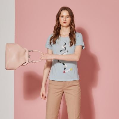 ICHE 衣哲 精緻3D手工鑲飾造型T恤上衣(兩色)-灰藍