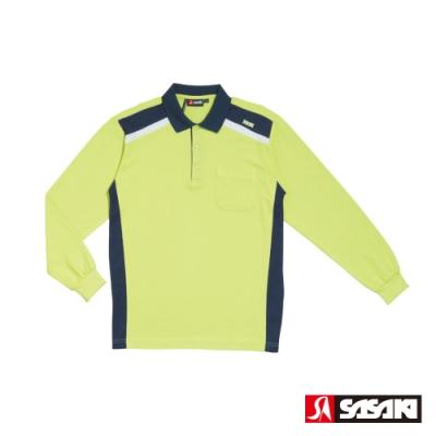 SASAKI 棉質吸濕排汗功能運動休閒長衫-男-果綠/丈青