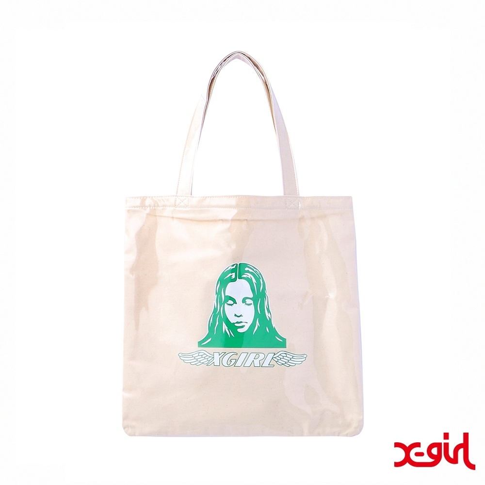 X-girl ANGEL FACE TOTE BAG肩背包-白