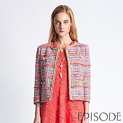 EPISODE - 小香風條紋設計開襟衫外套(粉)