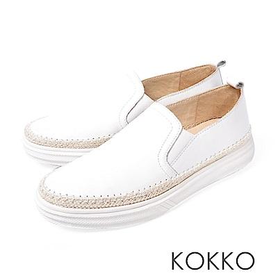 KOKKO -極簡麻編滾邊厚底真皮懶人鞋-清爽白