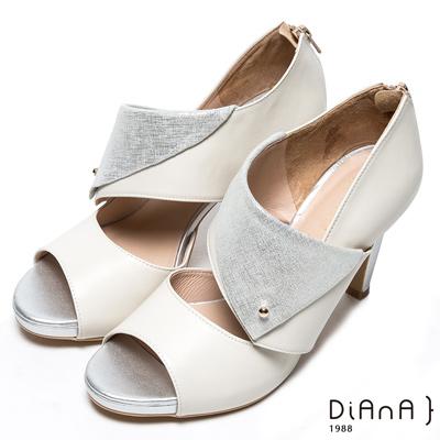 DIANA 時尚魅力-光澤鉚釘鏤空真皮魚口跟鞋-米白