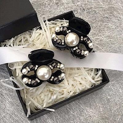 梨花HaNA 韓國珍珠小香氣質鑲鑽小抓夾
