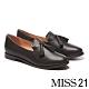 低跟鞋 MISS 21 復古學院風流蘇造型全真皮樂福低跟鞋-黑 product thumbnail 1