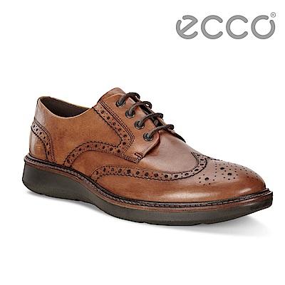 ECCO LHASA時尚雕花舒適緩震紳士正裝鞋 男-棕