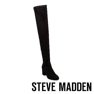 STEVE MADDEN-ISAAC摩登款粗跟過膝套靴-黑色