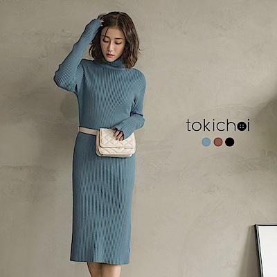 東京著衣 時髦必收高領坑條針織洋裝(共三色)