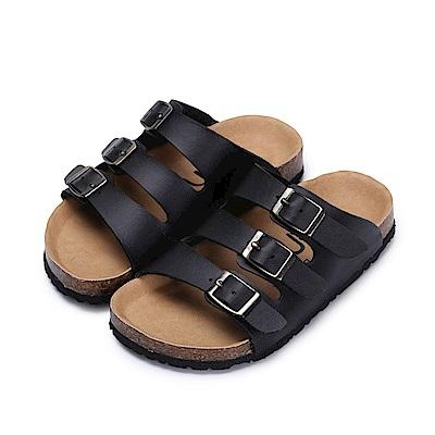 BuyGlasses 經典三排釦飾兒童拖鞋-黑