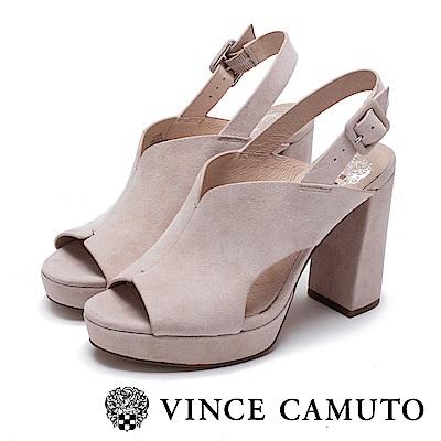 Vince Camuto 麂皮簍空後繫帶微增高跟鞋-絨粉