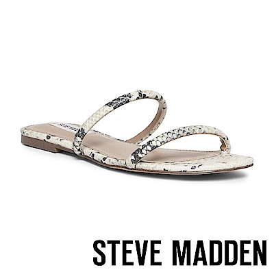 STEVE MADDEN-BRAYDEN 極簡風格雙細帶平底拖鞋-蛇皮