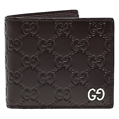 GUCCI 經典Signature系列GG壓紋銀色金屬LOGO牛皮折疊短夾(咖啡-8卡)