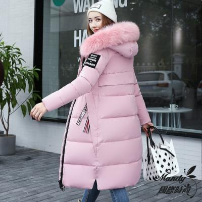 Mandy國際時尚 羽絨棉衣 冬 長款大毛領羽絨棉加厚大碼棉外套大衣(7色)