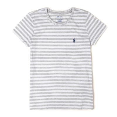 Polo Ralph Lauren 經典小馬圓領條紋短袖T恤(女)-白灰色