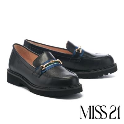 低跟鞋 MISS 21 英倫學院風馬銜釦織帶全真皮樂福厚底跟鞋-黑