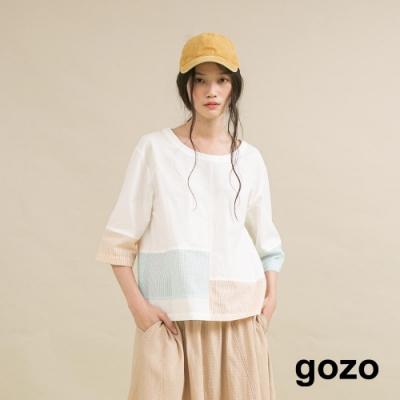 gozo 條紋撞色拼接五分袖上衣(二色)