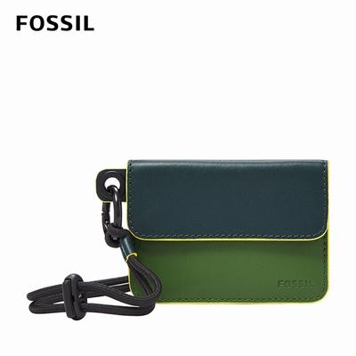 FOSSIL Lance 掛繩撞色真皮卡夾-青綠色 ML4341374