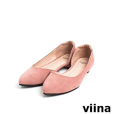 viina Basic素面羊絨布內簍空尖頭鞋 - 藕粉