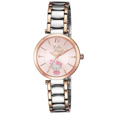 HELLO KITTY 凱蒂貓 水玉點點甜美手錶-粉紅x玫瑰金x銀/32mm